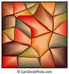 Square stained-glass window. - Vector of square...