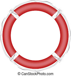 Red Life Buoy, Isolated On White Background