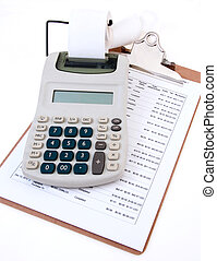 Calculator and Clip Board - clipboard with budget sheet and...