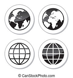 Globe Earth Icons as Labels