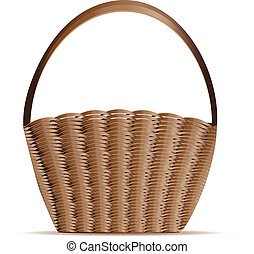 Woven basket - Illustration of empty woven basket on white...