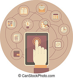 Tablet as a Tool for Business - Conceptual illustration of...