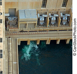 Hoover Dam - Hydro power generation taking place at Hoover...
