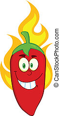 Red Chili Pepper Character On Fire