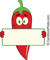 Chili Pepper Holding A Banner - Smiling Red Chili Pepper...