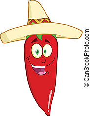 Chili Pepper With Mexican Hat - Smiling Red Chili Pepper...