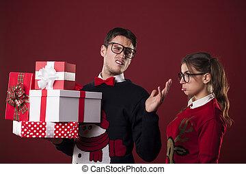 regalos, hombre, navidad, grosero,  nerdy