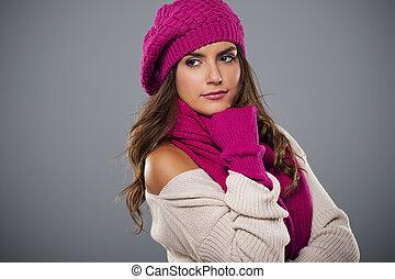 Retrato, na moda, mulher, Inverno, estação