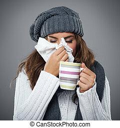 jovem, mulher, tendo, gripe, soprando, dela, nariz,...