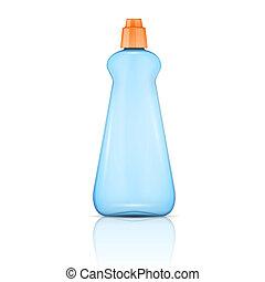 Blue plastic bottle with orange cap. - Blue plastic bottle...