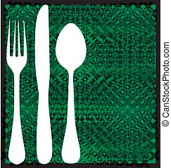 Fork, spoon and knife on table