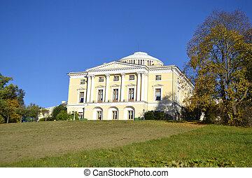 Palace on hill in Pavlovsk park