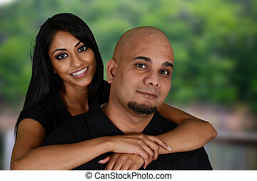 Minority Family - Nice minority family together outside in...