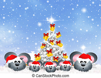 mice celebrate Christmas - family of mice at Christmas