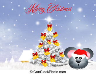 mice celebrate Christmas - mouse at christmas