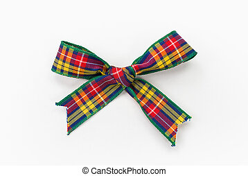Bow - Colorful Tartan Cloth Bow Photograph (has clipping...