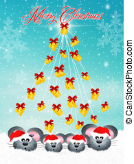 family of mice at Christmas - illustration of mice celebrate...