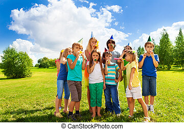 Large group of kids on birthday party - Large group of happy...