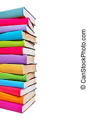 Stack of colorful books on white background