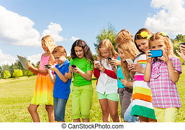 Group of kids social networking