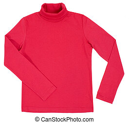 Red turtleneck. Isolated on a white background.