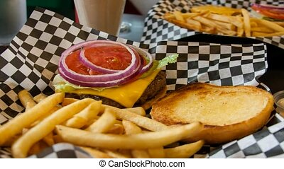 Burger and fries - Cheese burger and fries