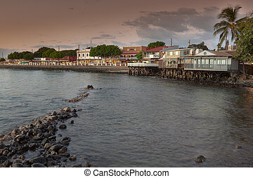 Lahaina Maui at Sunset - the town of lahaina on the island...
