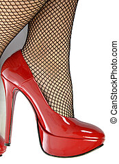 Shoes and fishnet stockings