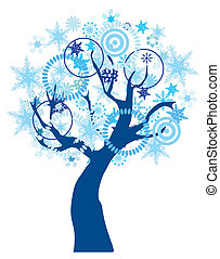 Snow Tree - vector tree with snowflakes