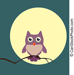 Night Owl - vector owl in the light of the moon