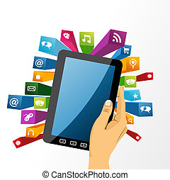 Human hand holds tablet pc with app icons. - Human hand...