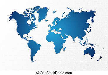 Blue World map isolated shape EPS10 vector file. - Blue...