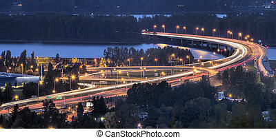 Interstate 205 Freeway Over Columbia River at Dusk -...