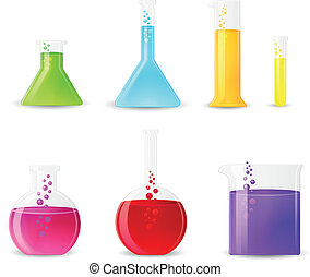 Chemical Glasswarewith Colorful Fluids. Laboratory Test...