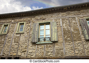 Carcassone - The ancient houses inside the fortification of...