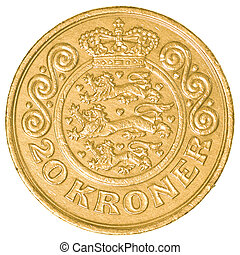 20 danish krone coin isolated on white background