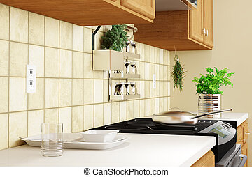 Kitchen interior closeup with herbs and dishes