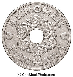 5 danish krone coin isolated on white background