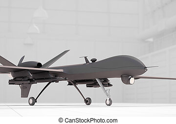 Comabt drone in white hangar closeup - Comabt drone in white...