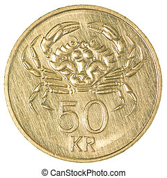 50 icelandic krona coin isolated on white background