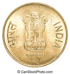 5 indian rupees coin isolated on white background
