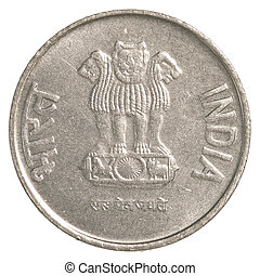 2 indian rupee coin isolated on white background