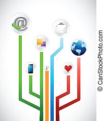 social media circuit diagram illustration design