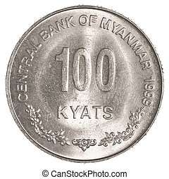 100 Burmese myanmar kyat coin isolated on white background