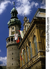 Town Hall, Sopron - Town Hall and Fire Watch Tower in...