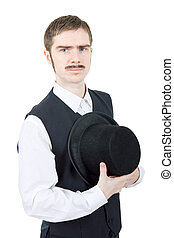vintage groom - young man dressed as vintage groom, isolated
