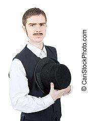 vintage groom - young man dressed as vintage groom, isolated