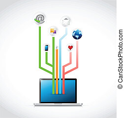 laptop social media circuit diagram illustration