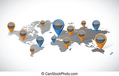 world map and pointer locators illustration design over...