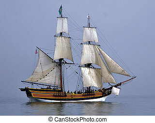 Wooden Ship on the Water - Wooden ship in San Francisco Bay,...
